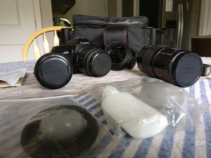 Canon EOS 850 with bag, strap, two extra lenses, cleaning kits for Sale in White Lake charter Township, MI