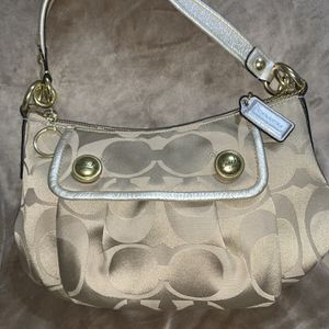 Coach Poppy Signature Gold and Silver Sateen Handbag/Purse. for Sale in Queen Creek, AZ