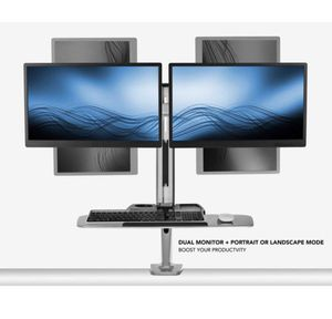 Stand Up Workstation with Dual Monitor Mount - Standing Desk Converter with Height Adjustable Keyboard & Counterbalance Monitor Arm for Sale in Atlanta, GA