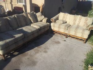 Tan. With flowers couch and loveseat for Sale in Glendale, AZ