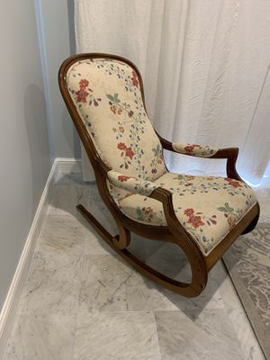 Antique rocking chair. Pre civil war era, new shumacher fabric for Sale in Highland Beach, FL