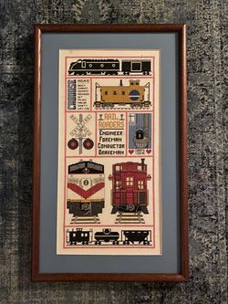 Vintage embroidered railroad caboose train cross stitch art for Sale in Renton,  WA