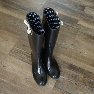 Kate Spade Black Rain Boot Heels With Bows for Sale in Claremont, CA