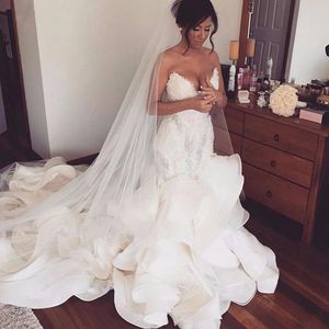 Sexy Ruffles Mermaid Wedding Dress with Lace Appliques Ruched Long Bridal Gowns Plus Size Sweetheart Wedding Gowns Robe De Mariee for Sale in Atlanta, GA