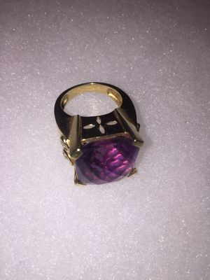 14 karat gold ring with four diamonds and purple amethyst gemstone for Sale in San Diego, CA
