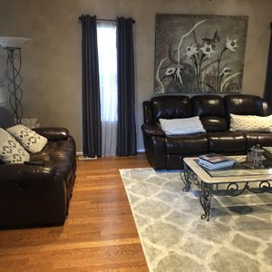 Loveseat & Sofa - Leather And Fully Reclining for Sale in Gibbsboro, NJ