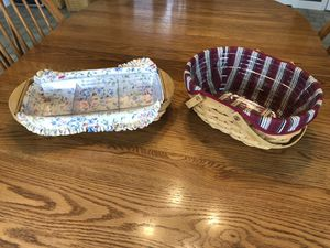 2 longaberger baskets with liners and protectors for Sale in Lebanon, OH