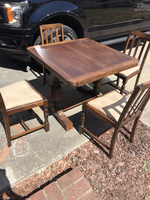 Antique solid oak draw leaf table with custom made glass top for Sale in Newark, CA