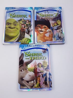 (3)Shrek DVD(Full Screen) Movie Bundle(Shrek, Shrek 2, & Shrek the Third) w/Slipcovers for Sale in Lakewood, CA