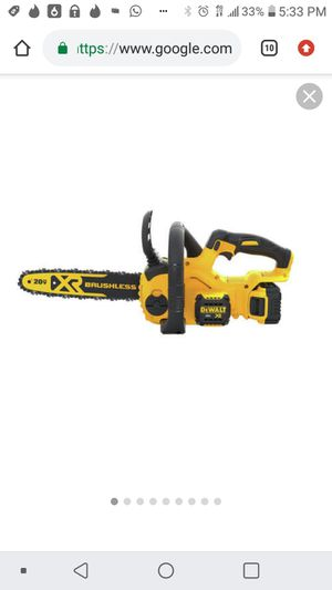 """Dewalt 20v xr brushless 12"""" bar chainsaw kit with battery and charger for Sale in San Jose, CA"""