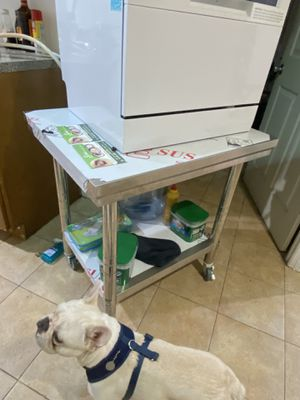 Metal Table with Rolling Wheels!! Also the portable dishwasher on Sale!! for Sale in Brooklyn, NY