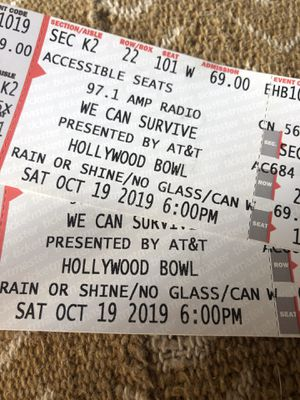 We Can Survive- Hollywood Bowl- Tonight. for Sale in Los Angeles, CA