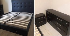New black or white queen platform bed frame with crystals. Dresser. One nightstand. Delivery for Sale in Lake Worth, FL