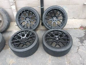 Stance 20 inch black alloy rims with old tires. 5 on 120mm for Sale in Commerce, CA