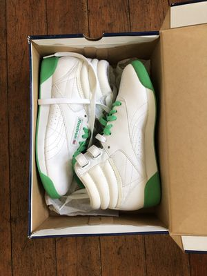 Neon Green and white Reebok high top women's sneakers size 6 for Sale in Portland, OR