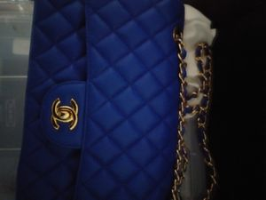 CHANEL Lambskin Quilted Mini Rectangular Flap Blue for Sale in Portland, OR