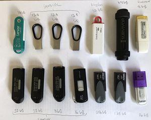 14 USB drives, 1000 GB (1x256GB, 5x128GB, 1x64GB, 3x32GB, 3x16GB, 2x8GB) for Sale in Claremont, CA