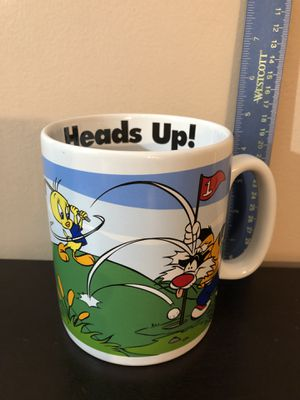 Vintage 1996 Warner Bros. Looney Tunes Jumbo Coffee Mug/Golf Theme w/Sylvester & Tweety Bird/Animated/Cartoons/Collectibles/Antiques/Gifts for Sale in Tinley Park, IL