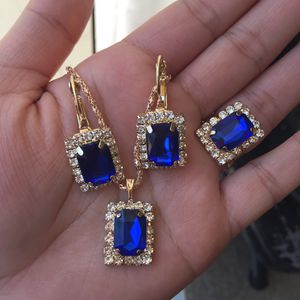 Gold plated jewelry set all pcs earrings necklace adjustable ring for Sale in Silver Spring, MD