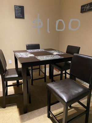 Dining table set with 4 chairs. Like new. Dark brown for Sale in Windermere, FL