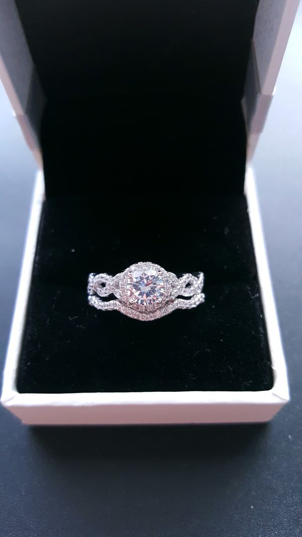 Sterling silver engagement wedding promise ring
