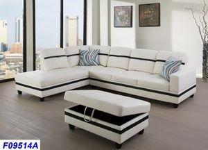 New White and Black faux leather sectional with storage ottoman for Sale in Puyallup, WA