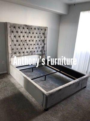 Queen grey velvet bed frame for Sale in Vernon, CA