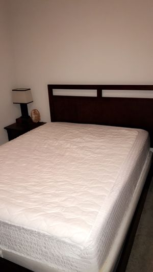 Gently used mattress with bed frame, nightstand, lamp & dresser $350 for Sale in Tampa, FL