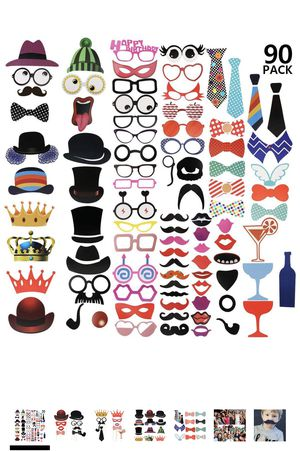 90 Pcs] Photo Booth Props DIY Kit for Wedding, Birthday, Party - DIY photo booth Fun Accessories for Sale in Hacienda Heights, CA