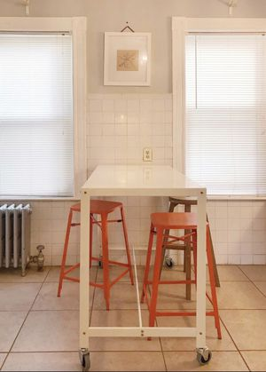 Ikea Metal HightopTable & 2 Orange Metal Stools for Sale in Chelsea, MA