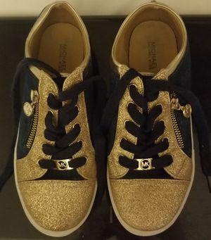 Michael Kors navy/glitter gold sneakers US Women's sz 4 for Sale in Lake Waukomis, MO