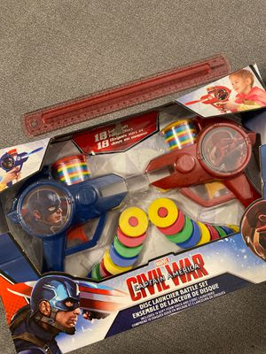 Never Used/ Unopened - Marvel/ Civil War / Captain America/ Iron Man - Foam Disc Launcher Battle Set for Sale in San Diego, CA