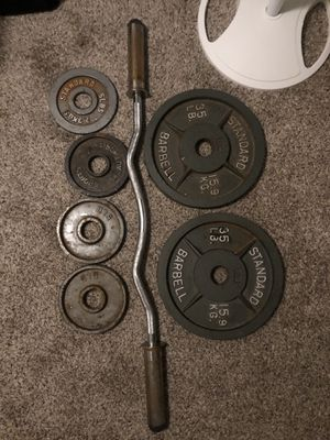 Weights and curl bar for Sale in Fresno, CA