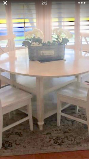 Pottery Barn dining table white drop down leaf and shelves for Sale in Oldsmar, FL