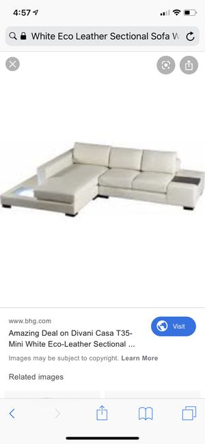 Sectional Sofa in White Eco-Leather w/ Light for Sale in Fort Worth, TX