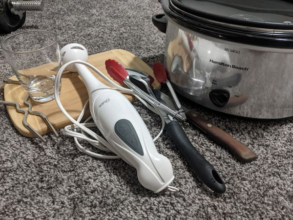 Kitchen Starter Kit - Crockpot, Cutting Board, Serrated Knife, Immersion Blender, Utensils