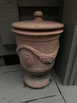 Matching set of two vintage antique outdoor concrete planter pots with lids for Sale in Dublin, OH