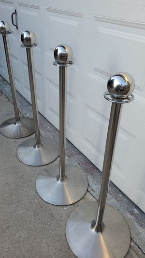 4 stands stanchion post queue poles for Sale in Lakewood, CA