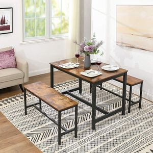 Industrial Urban Wood Style Dining Table 2 Bench Set for Sale in Montclair, CA