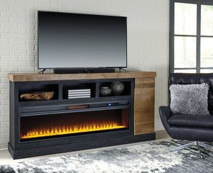 İn stock🍀SAME DAY DELİVERY🍀Tonnari Two-tone Brown XL TV Stand with Wide Fireplace Insert | W715-68 for Sale in Jessup, MD
