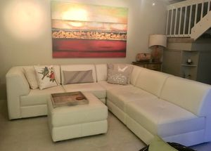 Chateau D'ax Italian white leather sectional couch for Sale in Miami, FL