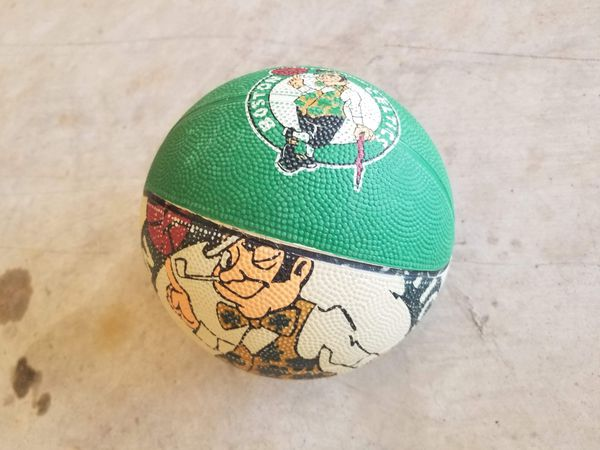 Mini celtics ball with mini basketball hoop for it