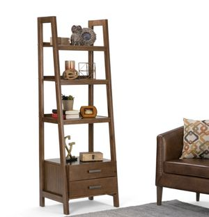 Modern ladder shelf with storage on medium saddle brown. (I have 2). for Sale in Miami, FL