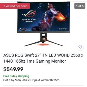 Asus pg27vq monitor for Sale in Los Angeles, CA