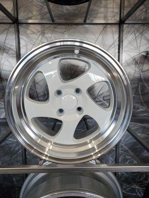 PRICE PER SET 15X8 4x100 white face machine lip wheels for Honda scions miatas Nissan Toyota rims for Sale in Tempe, AZ