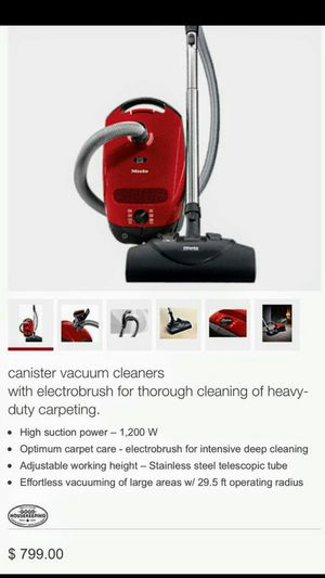 Brand new white Miele C1 canister vacuum great for small business or your own home cost $800 asking for $175 thanks for Sale in Rockville, MD