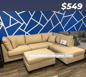 REAL SHOWROOM 😁 WE FINANCE - SAND L SHAPE REVERSIBLE CHAISE COUCH SOFA SECTIONAL WITH OTTOMAN COUCHES for Sale in Los Angeles,  CA