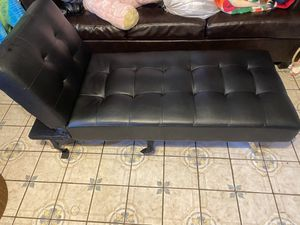 Black faux leather futon for Sale in Los Angeles, CA