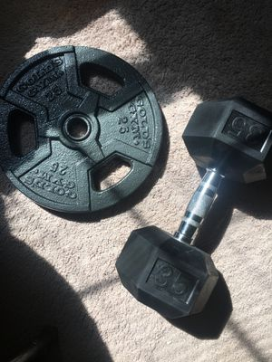 25 lb Plate and 35 lb dumbbell for Sale in Pittsburgh, PA