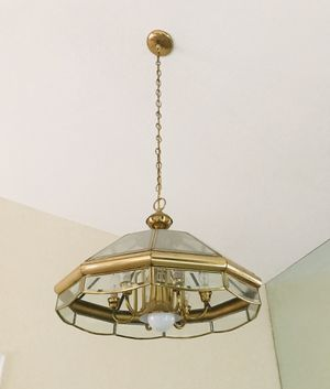 """Beautiful 6 light brass chandelier in excellent condition. 22"""" x 15"""" H. $25 for Sale in Newport Beach, CA"""